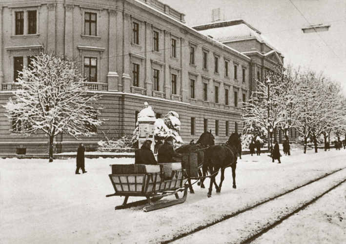Zaprežne saonice u Osijeku, oko 1950., Muzej Slavonije, Osijek