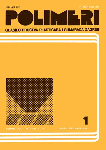 Naslovnica prvoga broja znanstveno-stručnoga časopisa <em>Polimeri,</em> 1980. Društvo za plastiku i gumu