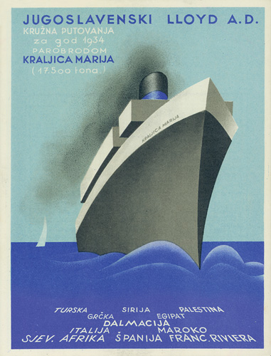 Prospekt za kružna putovanja parobrodom <em>Kraljica Marija</em> za 1934. godinu, Hrvatski muzej turizma, Opatija