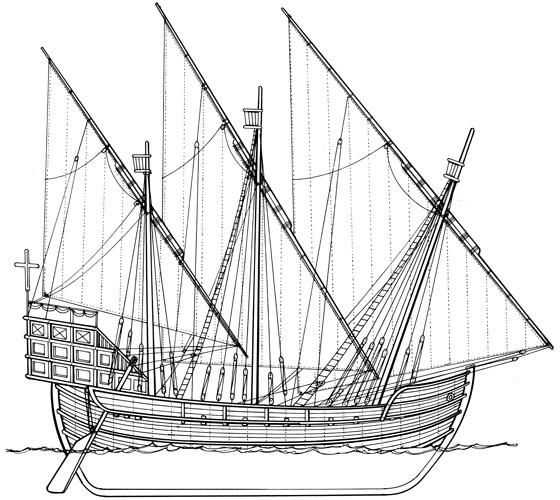Hrvatski trgovački jedrenjak, XII–XIII.st. (prema A. Meštroviću)