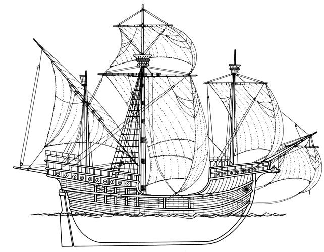 Dubrovačka karaka, veliki trojarbolni jedrenjak, XVI.st.