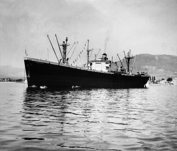 Parobrod za opći teret <em>Kaštela</em> tipa <em>Liberty,</em> plovio za Jadroplov 1963., izgrađen u brodogradilištu New England Shipbuilding Corp. u Portlandu, 1943.