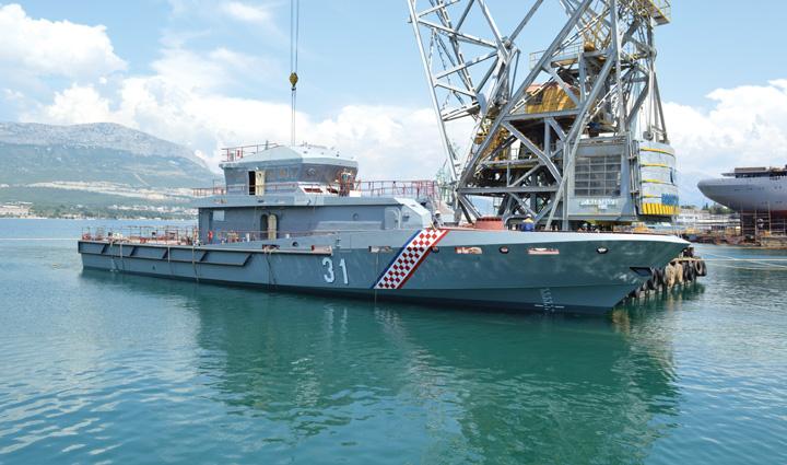 Prototip obalnog ophodnog broda <em>Novogradnja 540,</em> izgrađen za Obalnu stražu RH u splitskom Brodogradilištu specijalnih objekata, 2017.