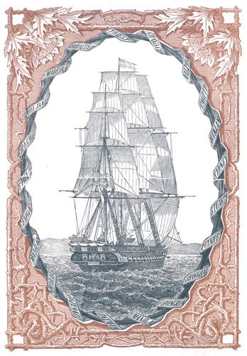 Fregata <em>Novara,</em> izgrađena u Veneciji, 1850; naslovnica iz djela <em>Put oko svijeta austrougarske fregate Novara</em> autora dr. Karla von Scherzera, Beč, 1864., Pomorski i povijesni muzej Hrvatskog primorja Rijeka