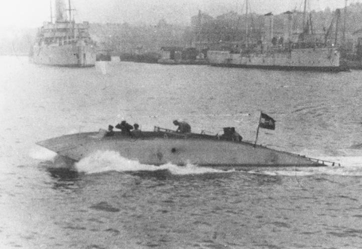 Lebdjelica konstruktora Dagoberta Müllera von Thomamühla tijekom pokusa u pulskom zaljevu, 1916., NH87554, Naval History and Heritage Command, Washington