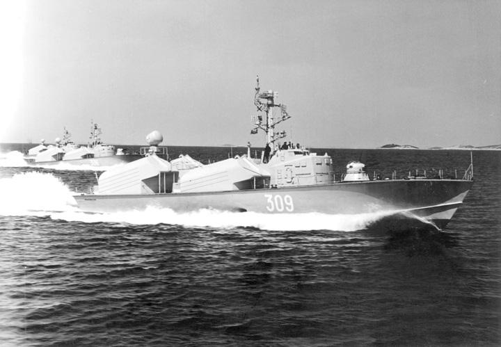 Raketni čamac <em>RČ-309 Franc Rozman-Stane</em> klase <em>Osa I,</em> izgrađen u SSSR-u, oko 1960.