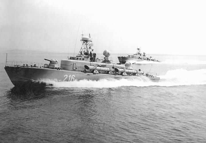 Torpedni čamac <em>TČ-216</em> klase <em>Shershen,</em> izgrađen u Titovu brodogradilištu u Kraljevici, oko 1970.