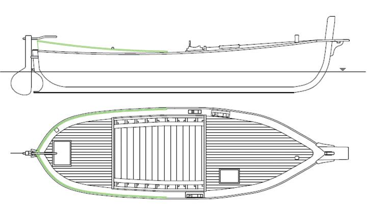 Leut-trajta, nacrt povećanja razine krme, izrađen prigodom obnove korčulanske trajte <em>Borac</em> na splitskom Fakultetu elektrotehnike, strojarstva i brodogradnje