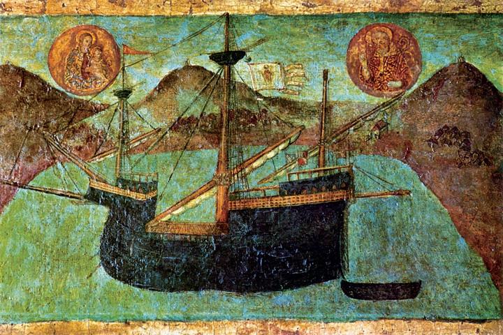 Dubrovački karakun pomorca Marka Kolendića, detalj slike <em>Navještenje</em>, rad Nikole Božidarevića, 1513., Muzej Dominikanskoga samostana, Dubrovnik