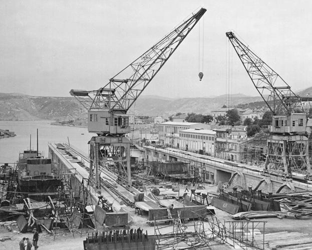 Pogled na Titovo brodogradilište, oko 1950.
