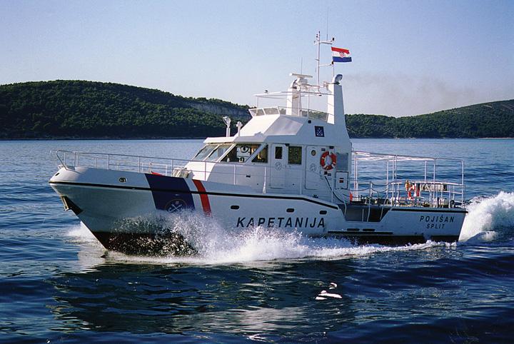 Brod za traganje i spašavanje Lučke kapetanije RH <em>Pojišan,</em> izgrađen u splitskom Brodogradilištu specijalnih objekata, 1999.