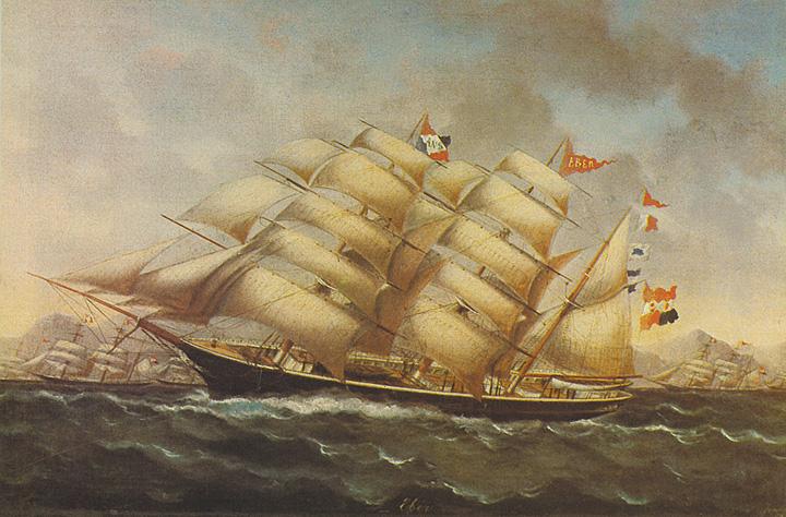 Bark <em>Eber,</em> izgrađen u Trstu 1870., plovio za Pelješko pomorsko društvo, Pomorski muzej u Dubrovniku