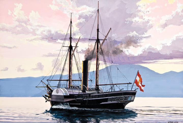 Parobrod <em>Maria Anna,</em> izgrađen u brodogradilištu u Kraljevici 1836., rad Danijela Frke, 2009., Zbirka Brodogradilišta Kraljevica
