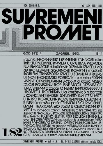 Naslovnica znanstveno-stručnog časopisa <em>Suvremeni promet,</em> 4.godište, 1982., Institut prometnih znanosti, Zagreb
