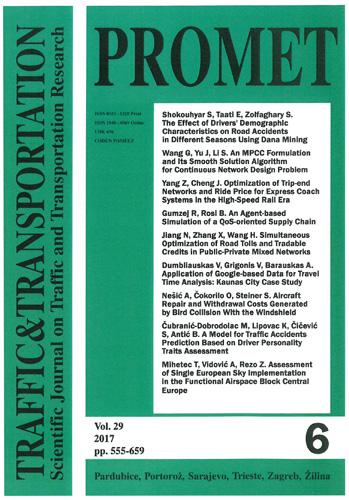Naslovnica znanstvenog časopisa <em>Promet – Traffic & Transportation,</em> 2017., Fakultet prometnih znanosti, Zagreb