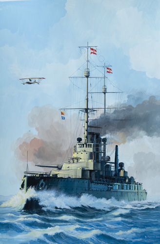 Bojni brod <em>Szent Istvan</em> klase <em>Tegetthoff,</em> izgrađen u riječkom brodogradilištu Ganz-Danubius (danas 3.maj), 1914., rad Danijela Frke, 2002.