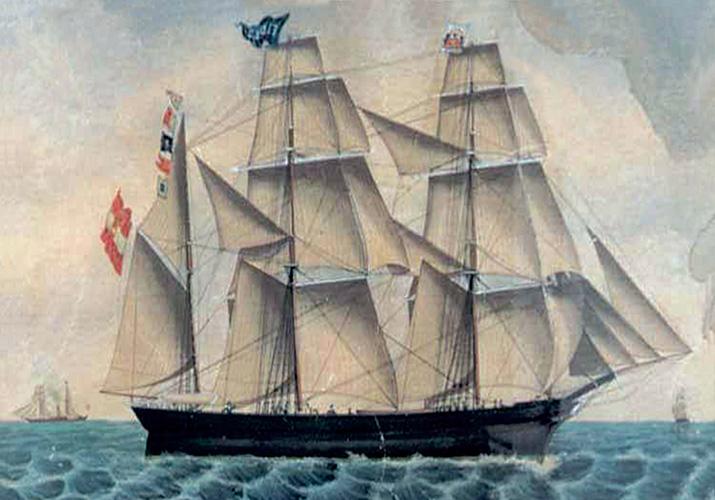 Bark <em>Fides</em> u vlasništvu Antonija Feliksa Kozulića, oko 1850.