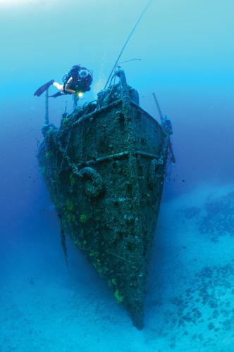 Olupina (krmeni dio) teretnoga broda <em>Lina,</em> potonuloga 1914. kraj Cresa