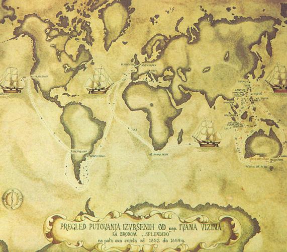 Karta putovanja jedrenjaka <em>Splendida</em> kojim je kapetan I. Visin oplovio svijet 1852–59.