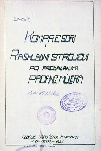 Skripta <em>Kompresori i rashladni strojevi</em> autora Josipa Milera, Zagreb, 1935.
