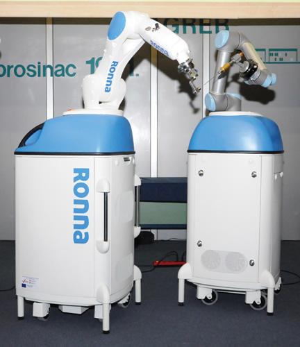 Robot <em>RONNA</em> za primjenu u neurokirurgiji, razvijen u Zavodu za robotiku i automatizaciju proizvodnih sustava Fakulteta strojarstva i brodogradnje u Zagrebu, 2016.