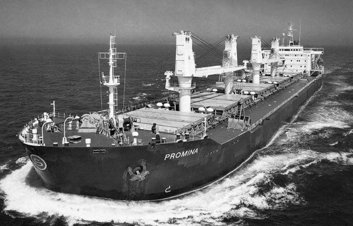 Brod za prijevoz sipkih tereta <em>Promina,</em> izgrađen u brodogradilištu Brodosplit 1990-ih, plovio za Slobodnu plovidbu