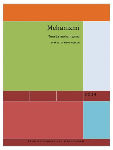 Naslovnica udžbenika <em>Teorija mehanizama</em> M. Husnjaka, 2009.