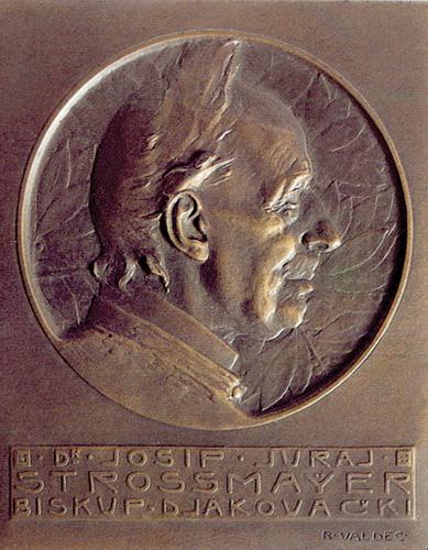 Medalja u povodu 90. rođendana J. J. Strossmayera, rad R. Valdeca, 1905., Arheološki muzej, Zagreb