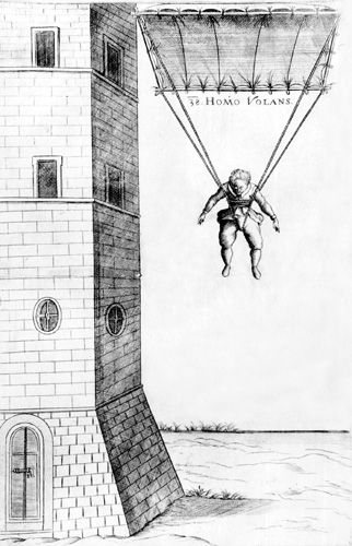 <em>Leteći čovjek (Homo volans)</em> iz knjige <em>Machinae novae</em> F. Vrančića, oko 1615.