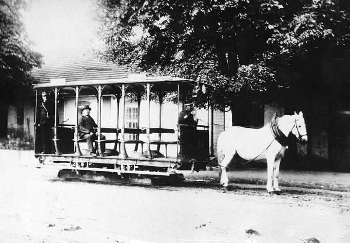 Konjski tramvaj u Zagrebu, kraj XIX.st., foto Mosinger