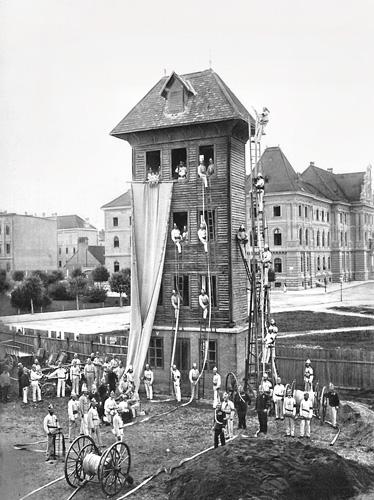 Vatrogasna vježba u Zagrebu, kraj XIX.st.