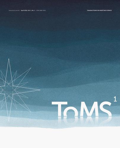 Naslovnica prvoga broja znanstvenog časopisa <em>Transactions on Maritime Science (ToMS),</em> 2012., Pomorski fakultet, Split