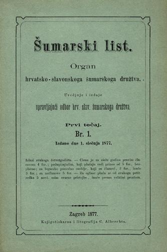 Naslovnica prvoga broja znanstveno-stručnoga časopisa, 1877.