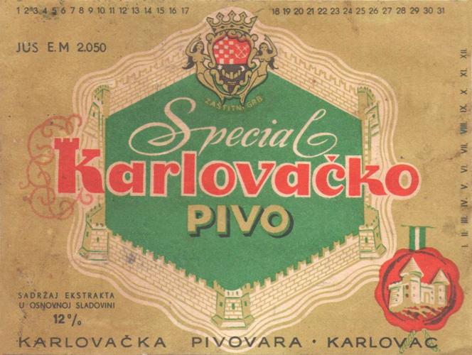 Etiketa Karlovačkog piva Special, 1970-ih, Gradski muzej Karlovac