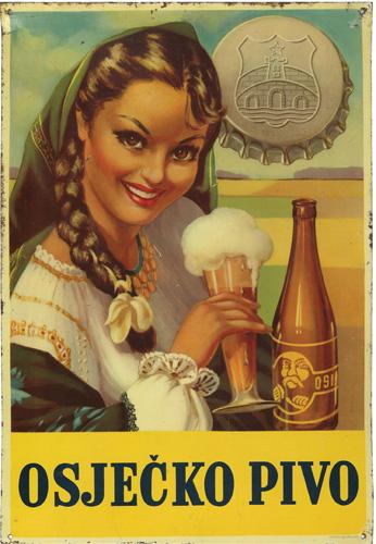 Reklamna ploča za <em>Osječko pivo,</em> 1950-ih, Muzej Slavonije Osijek