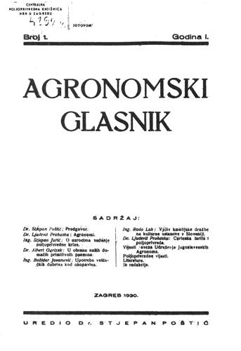 Naslovnica prvoga broja znanstveno-stručnoga časopisa, 1930.