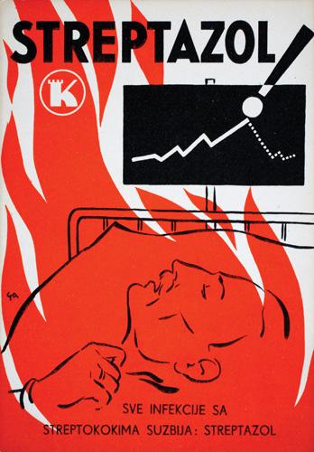 Reklamna razglednica za antibiotik <em>Streptazol</em> tvornice lijekova Kaštel, rad Pavla Gavranića, 1930-ih, Hrvatski muzej medicine i farmacije, Zagreb