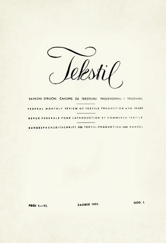 Naslovnica prvoga broja znanstveno-stručnoga časopisa, 1952.