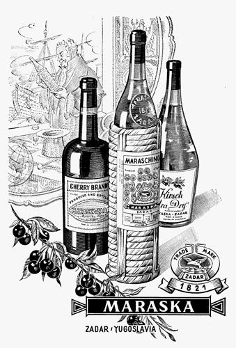 Reklamni oglas za alkoholna pića poduzeća Maraska, druga polovica XX. st.