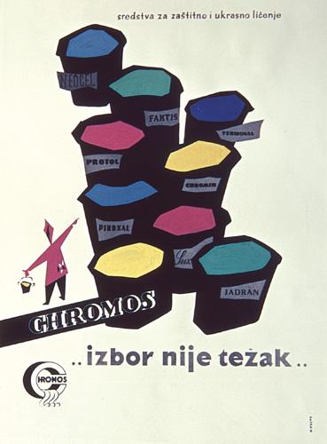 Reklamni plakat poduzeća Chromos, rad M. Vulpea, druga polovica XX. st.