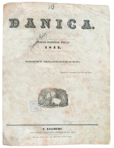 Naslovnica tjednoga književnog priloga u Ilirskim narodnim novinama, 1844.