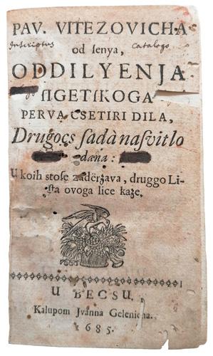 Naslovnica <em>Odiljenja sigetskoga,</em> 1685.
