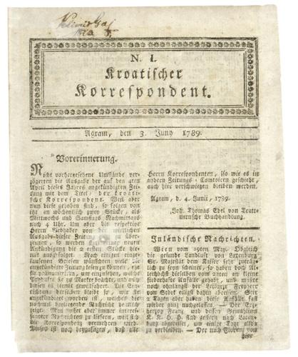 Naslovnica prvoga broja novina <em> Kroatischer Korrespondent,</em> 1789., NSK, RVII-8°-2.