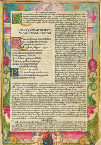 Stranica iz djela <em>Catulli Carmina cum comm...</em> Catullusa Gaiusa Valeriusa, Venetiis, 1487., 1488., list 2a, NSK, RI-4°-24