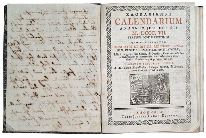 <em>Zagrabiense calendarium,</em> 1807., Muzej za umjetnost i obrt, Zagreb