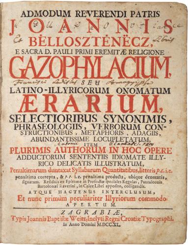 Naslovnica latinsko-hrvatskoga rječnika <em>Gazophylacium</em> Ivana Belostenca, 1740.