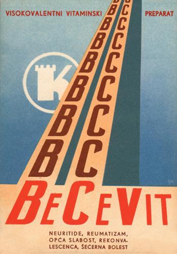 Reklamna razglednica za vitaminski preparat <em>Becevit</em> tvornice lijekova Kaštel, 1930-ih, Hrvatski muzej medicine i farmacije, Zagreb
